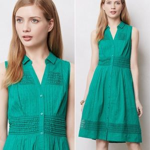 Anthropologie Swiss Dot Shirtdress Maeve green 8
